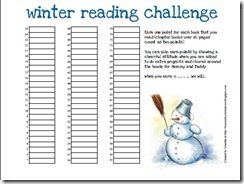 winter reading chart