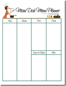 Printable Meal Planner  Menu For The Week Template