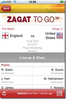 Goal.com App for Soccer World Cup 2010