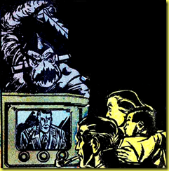 Cartoon drawing of 1950's family watchign TV while alien monster looks on from vintage comic book