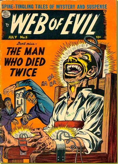 Comic book cover showing death row prisoner being executed in electric chair in Web of Evil 5.