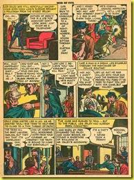 Rare old back issue comic book page showing arrest and trial of man in 1953 wearing green suit.
