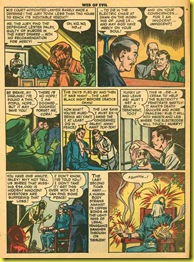 Back issue comic book page showing a prinsoner executed in an electric chair in Web of Evil 5.