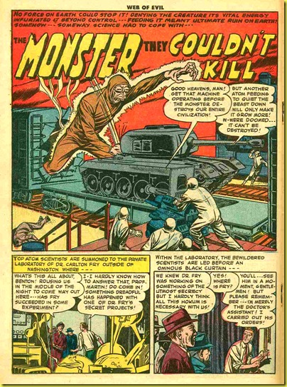 image: comic book atomic radioactive giant scientist breaks out of train