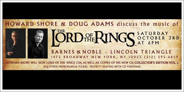 Special Appearance by Howard Shore and Doug Adams in New York!