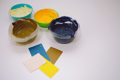 I like to use paint swatches as reference colors when I mix printing inks.