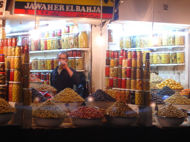 An olive seller. Just look at the selection.