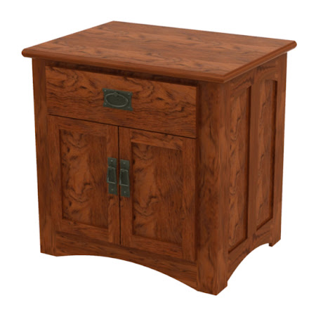 Haiku Nightstand with Doors,  in Autumn Oak, Shown with Custom Mission Hardware