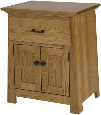 Teton Nightstand with Doors, Custom Side Panel (flat), in Medium Oak