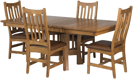 Craftsman Kitchen Table and Runic Dining Chairs, Oak Hardwood, Rustic Finish