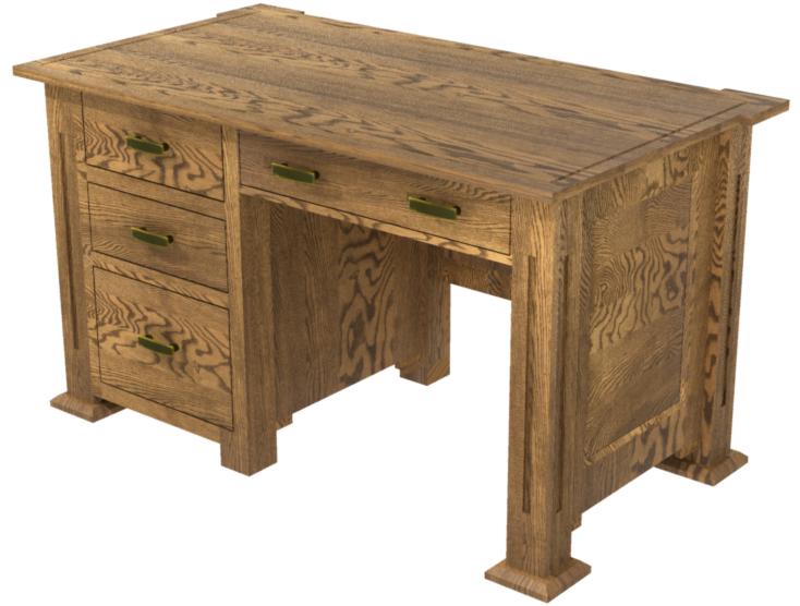 Sacramento puter Desk in Rustic Oak