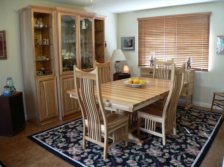 "60"" x 42"" Riverside Dining Table & Western Chairs & Mission Sideboard & Vermont Mission Hutch, Hickory Hardwood, Natural Finish"
