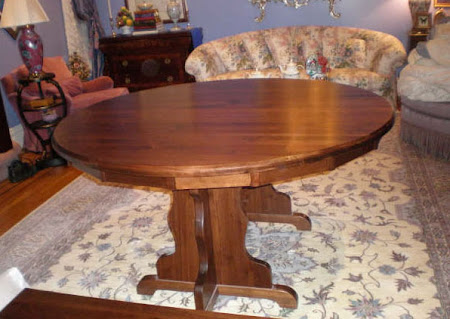 Round 60 Colonial Round Table with Added Leaf, Walnut Hardwood, Winter Finish