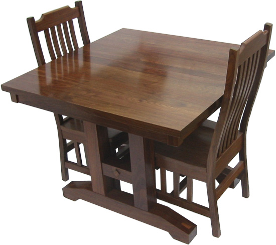 Trestle Dining Room Table Erik Organic : table squaretrestlemission blackwalnut angle with chairs 500 from www.erikorganic.com size 550 x 488 jpeg 65kB