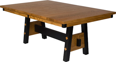 70 x 42 Geneva Dining Table, Oak Hardwood, Medium and Midnight Finish