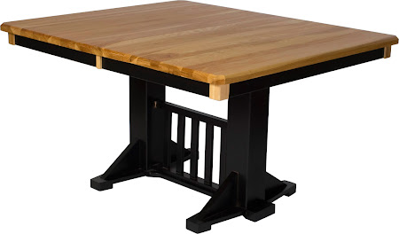Woodland Table Shown in Natural Hickory and Midnight Oak