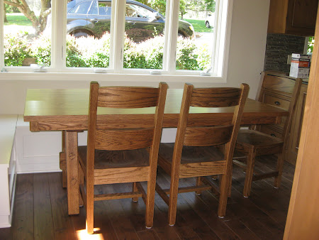 "70"" x 42"" Geneva Table and Chairs in Rustic Oak"