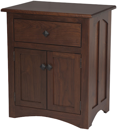 Haiku Nightstand with Doors, in Ruby Walnut