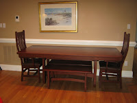 60 x 42 Montreal Table, Montreal Benches, and Seneca Dining Chairs in Autumn Oak