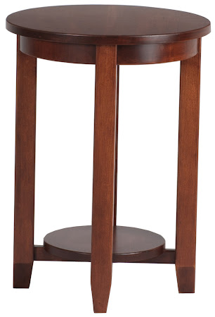Granada End Table in Chocolate Cherry, Shown with Bottom Shelf