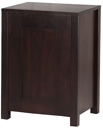 Dakota Nightstand with Door, in Mocha Walnut, Rear Panel