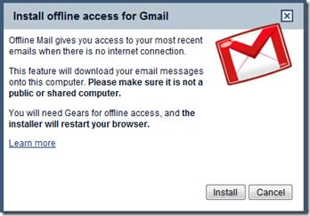 Install Offline Gmail Access Gears