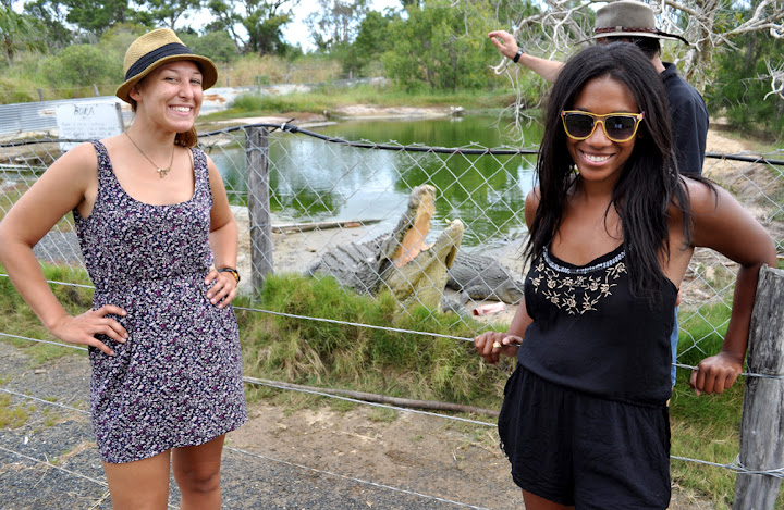 The Bobbis posing with a croc at Koorana Crocodile Farm and Restaurant in Emu Park, QLD. Photo by Bobbi Lee Hitchon.