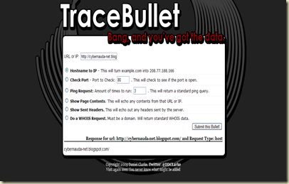 TraceBuillet on Cyber-Net
