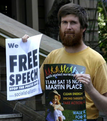 ... to ban posters in Sydney, but we gathered because we love free speech