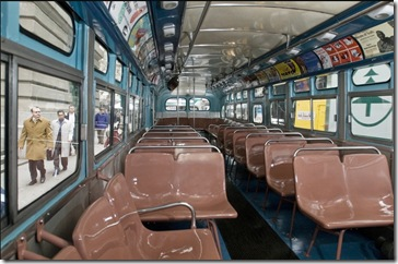 Interior de un autobús antiguo