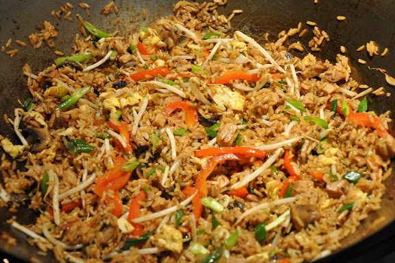 The final pork fried rice in the wok, ready to serve.