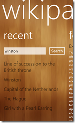 WikiPanda for Windows Phone 7 (click to enlarge)