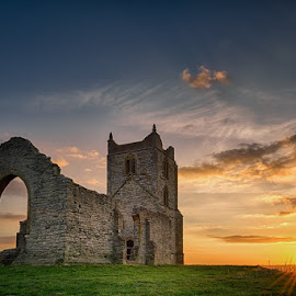 Burrow Mump at Sunset by Artur Szczeszek - Buildings & Architecture Decaying & Abandoned ( clouds, hill, burrow, old, england, uk, somerset, burrowbridge, sunset, architecture, mump )
