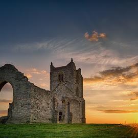 by Artur Szczeszek - Buildings & Architecture Decaying & Abandoned ( clouds, hill, old, uk, relax, architecture, tranquil, burrow, england, somerset, burrowbridge, sunset, mump,  )