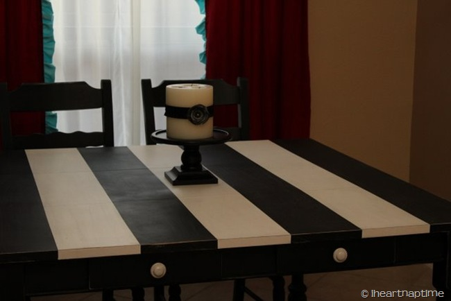 Black and White Striped Table  I Heart Nap Time