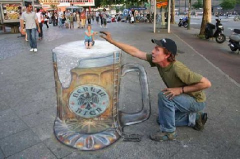Amazing 3D Drawing of a Chalk Guy