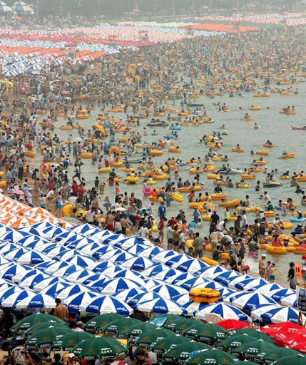 populated beach in korea not china