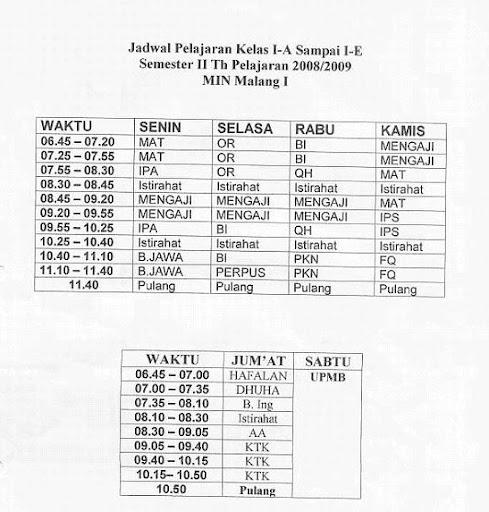 Jadwal Kelas 1