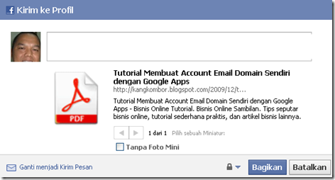 share short url to facebook