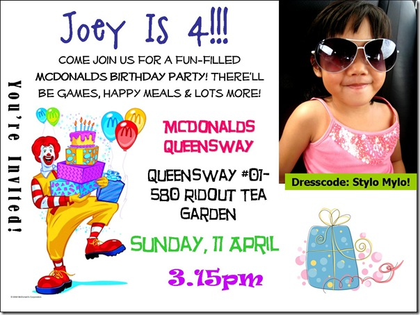 The J Babies A Debut McDonalds Birthday Party – Mcdonalds Birthday Party Invitations