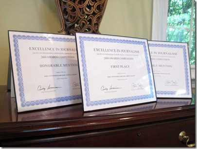 SPJ award certificates