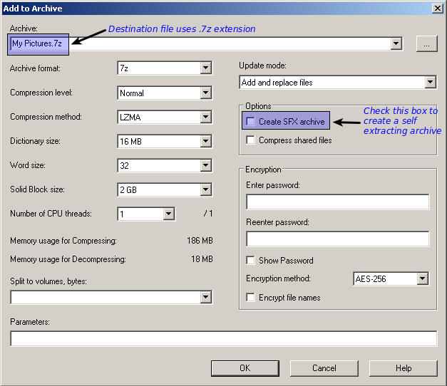 After Check Marking The SFX Box File Extension Changed From 7z To Exe Indicating We Have An Executable