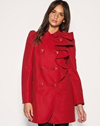 red ruffle coat