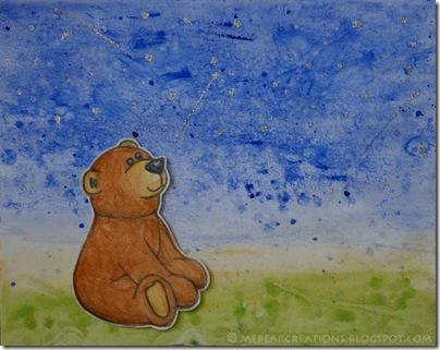 Star-Gasping, illustration, bear, wish twinkel, ster, beer, illustratie, sterren kijken, wens