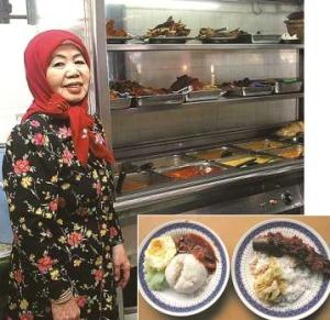 Restaurant Zainab Sam's nasi lemak (left) and ikan keli masak sambal.