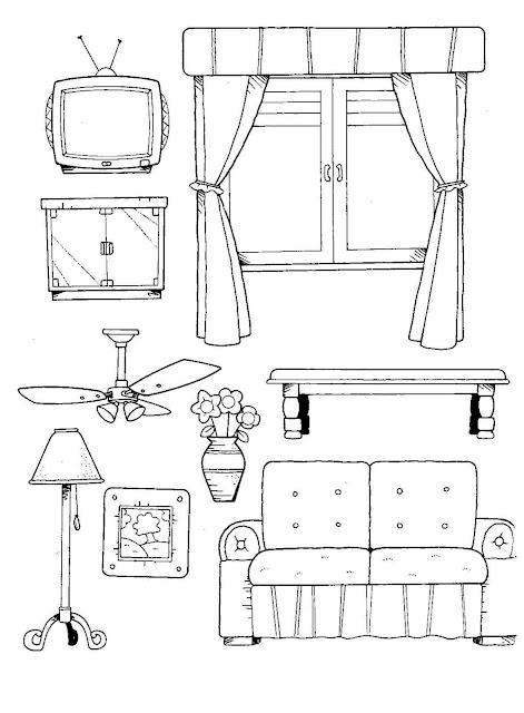 Dibujos del hogar para colorear for Muebles para preescolar