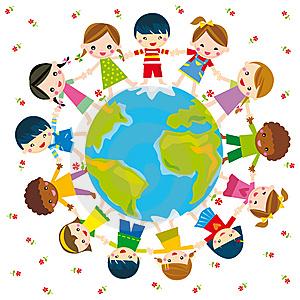 Dibujos de ni os del mundo - Dibujos en la pared infantiles ...