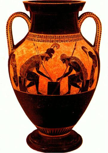 Waza w stylu czarnofigurowym -  z przedstawieniem Achillesa i Ajaksa grających w kości