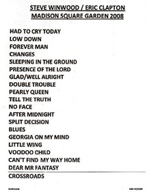 Clapton Winwood Setlist