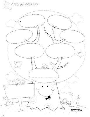 dibujo para imprimir y colorear de un rbol genealgico. arbol ...